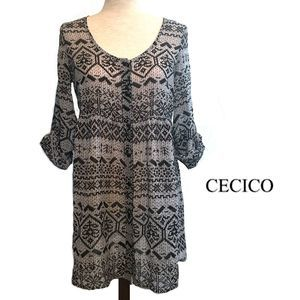 Cecico Gray and Black Sheer Boho Tunic Top Size M